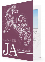 Save the date Ideen und Vorlagen, Violett mit Ornament