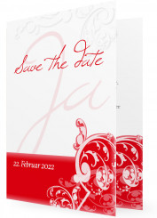 Save the date Karten Hochzeit, Ornament in Rot