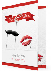 Save the date, Mr. & Mrs. Bart und Kuss Rot