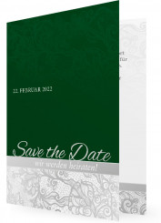 Save-the-date-Karten, Grün mit Ornamenten
