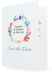 Vorlage Save the date, Blumenkranz blau