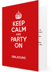 Vorlagen für Geburtstag Einladungen, Keep calm and party on, rot